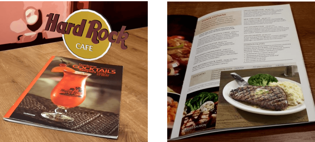 Hard Rock Cafe, menu, okładka i środek - Case Study, Transition Technologies PSC