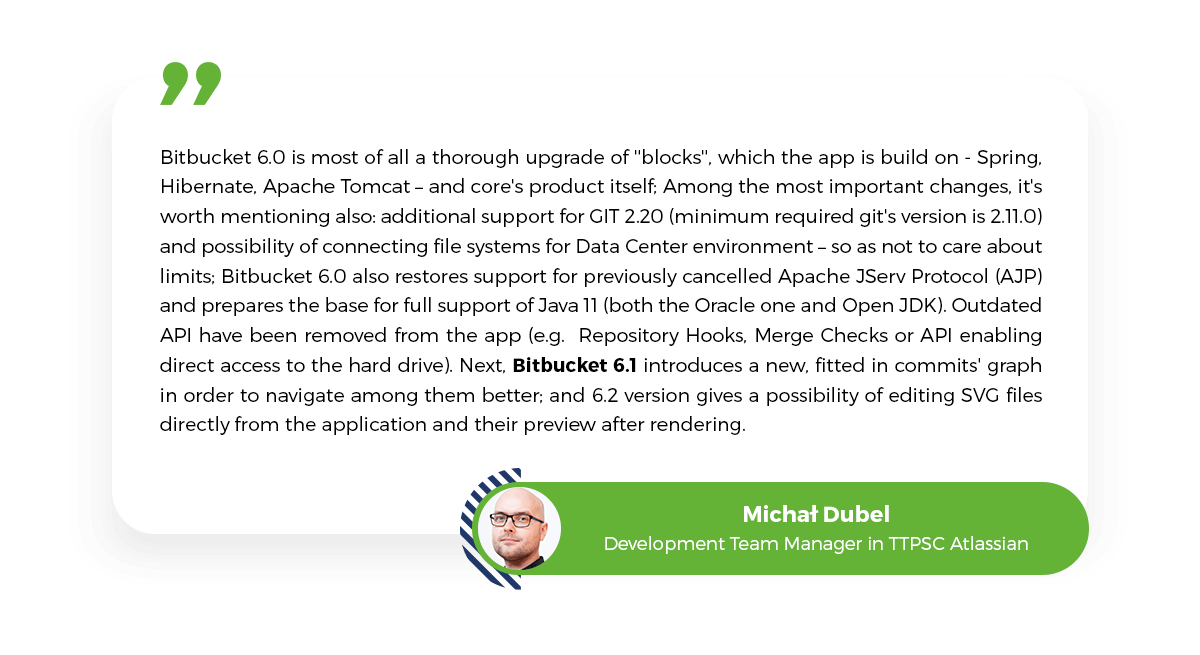 Bitbucket updates, Bitbucket 6.0, about Bitbucket, Michał Dubel