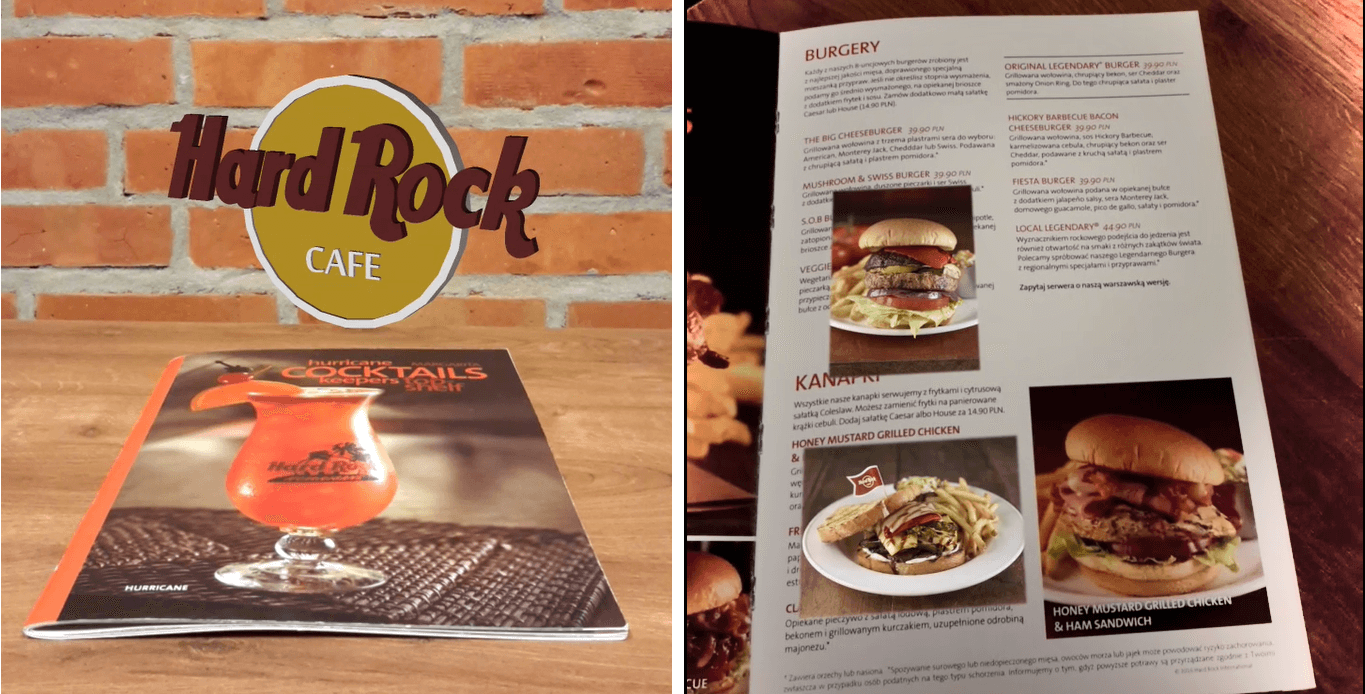 Augmented Reality w marketing Hard Rock Café AR menu