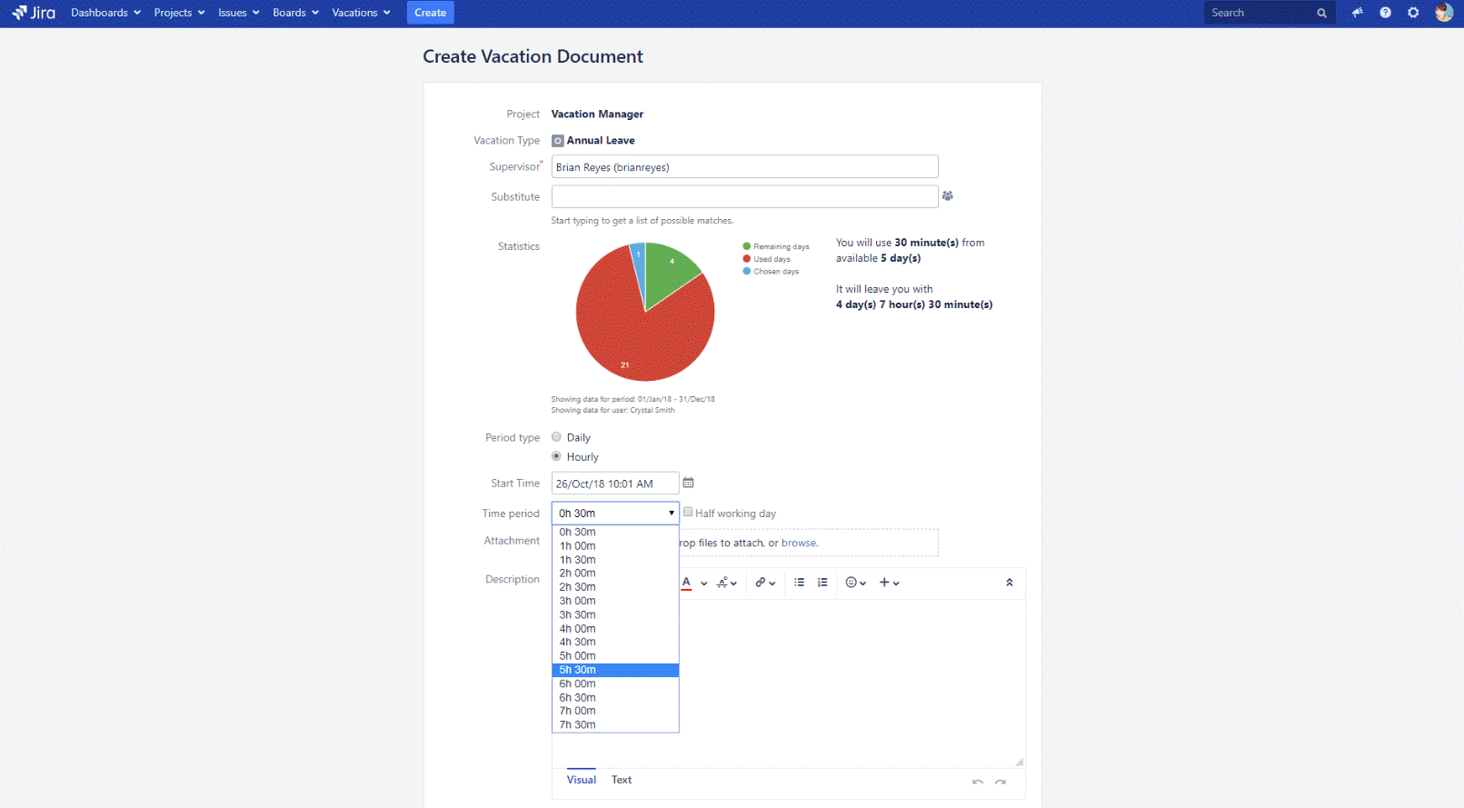 Vacation manager fur jira, vacation manager for jira screen, how it works