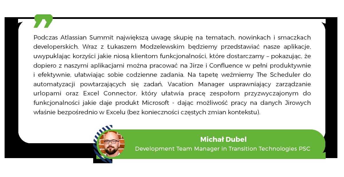 Michał Dubel, Transition Technologies PSC, Atlassian Development, Apps for Jira, Atlassian Summit 2020