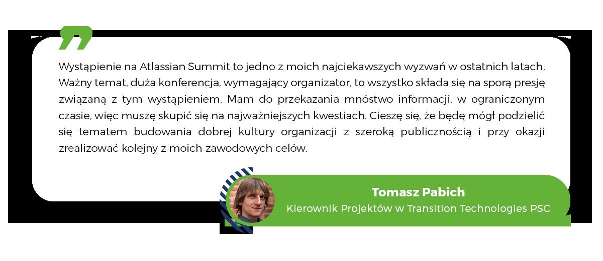 Tomasz Pabich, Transition Technologies PSC, Project Manager, Atlassian Summit 2020