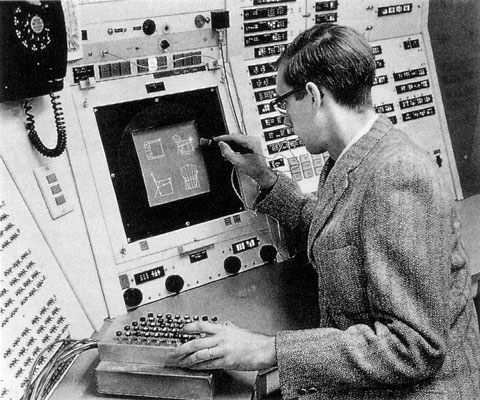 Ivan Sutherland using Sketchpad in 1962 CAD history