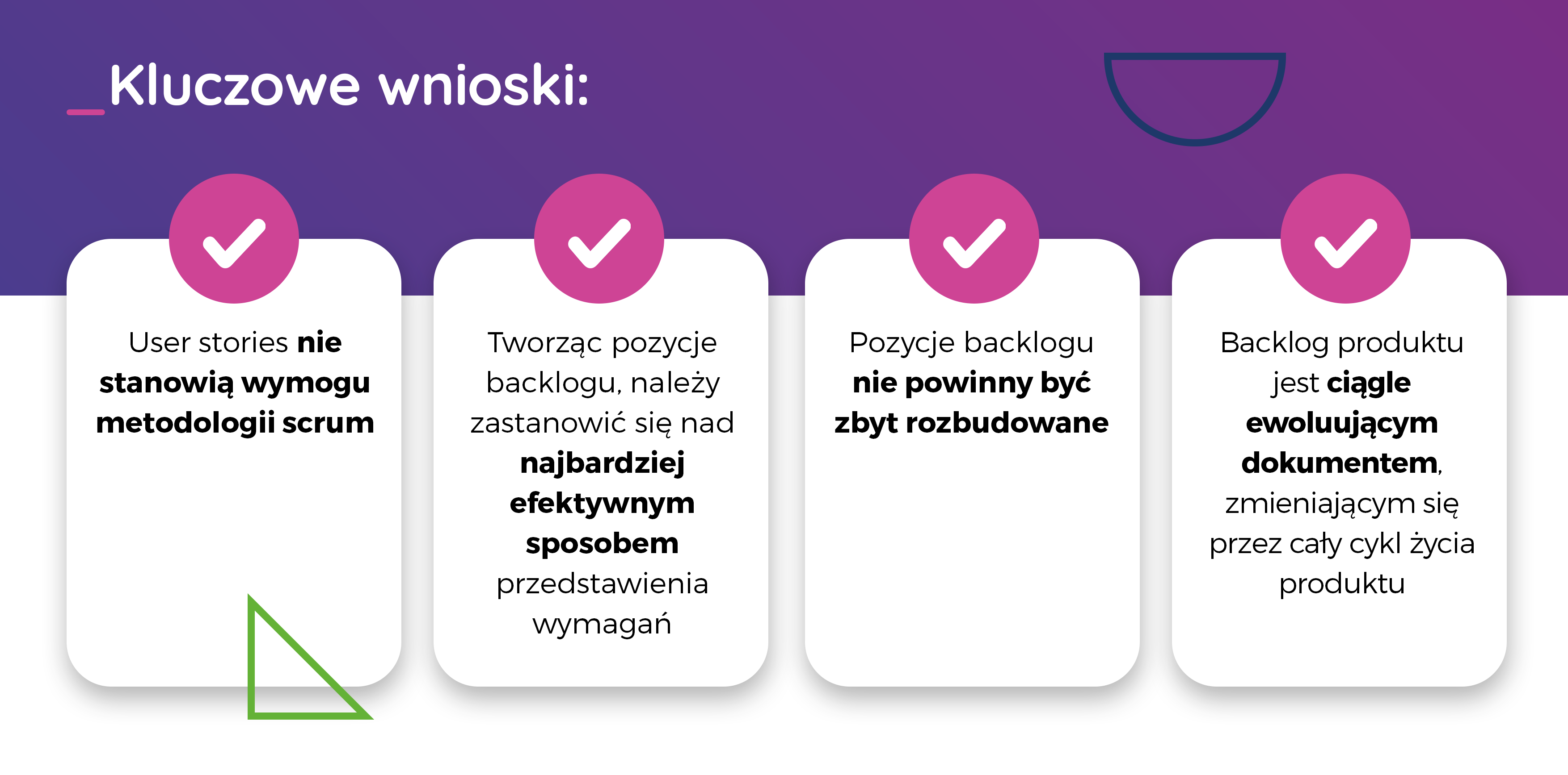 Na backlog produktu składają się user stories- wnioski- TT PSC